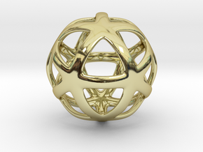 Math Art - Star Ball Pendant in 18k Gold Plated Brass