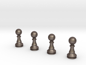 4 Pawns Only in Polished Bronzed Silver Steel