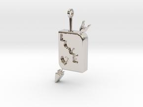 LOVE Pendant in Rhodium Plated Brass