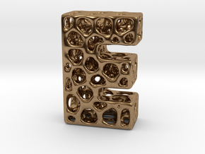 Voronoi Letter ( alphabet ) E in Natural Brass