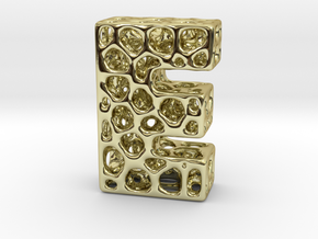 Voronoi Letter ( alphabet ) E in 18k Gold Plated Brass