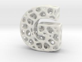 Voronoi Letter ( alphabet ) G in White Natural Versatile Plastic