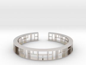 WINDOW Bracelet Medium Size D=60mm in Rhodium Plated Brass: Medium