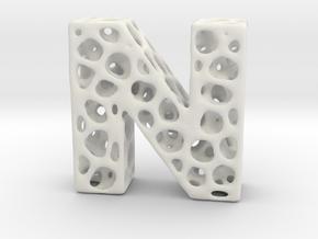 Voronoi Letter ( alphabet ) N in White Natural Versatile Plastic