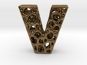 Voronoi Letter ( alphabet ) V in Natural Bronze