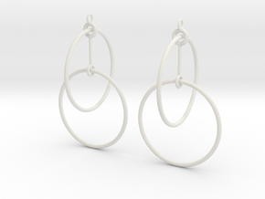 Circles Earrings 2 in White Strong & Flexible