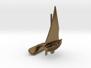 Small Sailing Boat Cufflink I in Natural Bronze