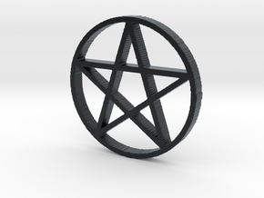Pentagram (Pentacle) in Black Hi-Def Acrylate