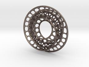 Quarter twist Möbius strip (color) in Polished Bronzed Silver Steel