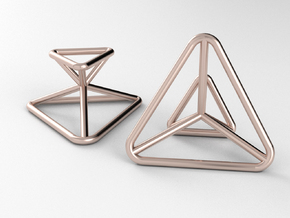 Space FrameTriangle-Cufflinks in 14k Rose Gold Plated Brass