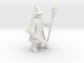 General Wizard Mini (Sword and Staff) in White Natural Versatile Plastic