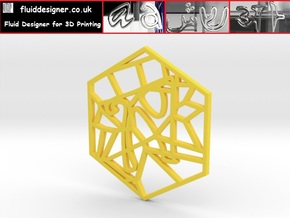 Personalised Voronoi Hexagonal Pattern Coaster (2) in Yellow Strong & Flexible Polished
