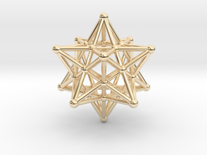 Stellated Dodecahedron -12 Pointed Merkaba in 14K Yellow Gold