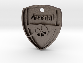 Arsenal FC Shield KeyChain in Polished Bronzed Silver Steel