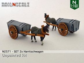 SET 2x Pferd mit Harritschwagen (N 1:160) in Smooth Fine Detail Plastic