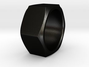 Aunt Barbara - Nut Ring in Matte Black Steel: 6 / 51.5