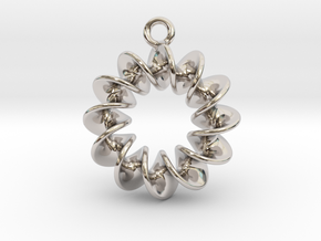 Helical Earring 1 in Rhodium Plated Brass