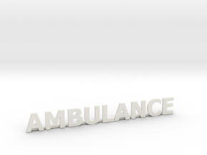 Ambulance letters met steun 86 mm in White Natural Versatile Plastic