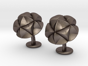 CupulaCufflinks in Polished Bronzed Silver Steel