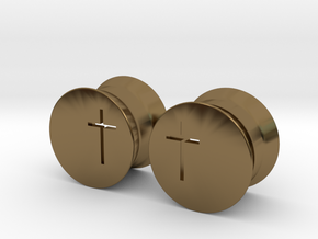 Crucifix Earring Gauges in Polished Bronze