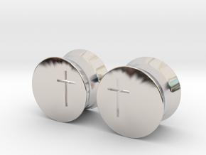 Crucifix Earring Gauges in Platinum