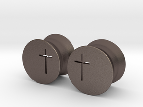 Crucifix Earring Gauges in Polished Bronzed Silver Steel