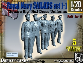 1-20 Royal Navy Sailors Set1-1 in White Natural Versatile Plastic