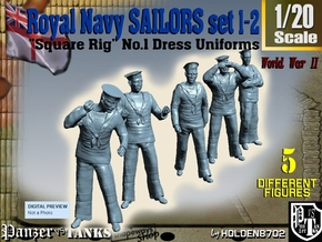 1-20 Royal Navy Sailors Set1-2 in White Natural Versatile Plastic