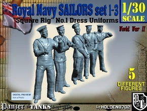 1-30 Royal Navy Sailors Set1-3 in White Strong & Flexible
