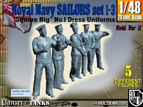 1-48 Royal Navy Sailors Set1-3 in Smooth Fine Detail Plastic