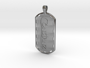 Constanz Cross Tag in Polished Silver: Large