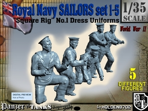1-35 Royal Navy Sailors Set1-5 in Smooth Fine Detail Plastic