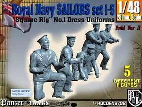 1-48 Royal Navy Sailors Set1-5 in Smooth Fine Detail Plastic