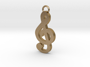 Music Pendant - Treble Clef  in Polished Gold Steel