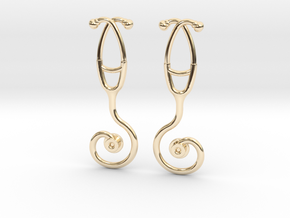 Stethoscope Spiral Earring in 14k Gold Plated Brass