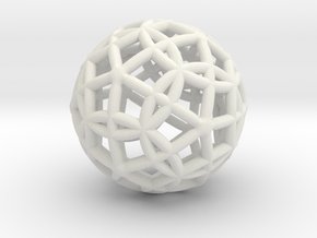 "Spherical Icosahedron with Dodecasphere 1"" in White Natural Versatile Plastic"