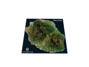 Reunion Island Map in Matte Full Color Sandstone