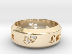 Anniversary Ring with Triple Hearts - May 7, 1990 in 14k Gold Plated: 12 / 66.5