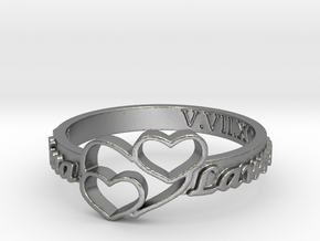 Anniversary Ring with Triple Heart - May 7, 1990 in Natural Silver: 12 / 66.5