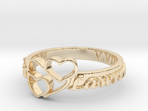 Anniversary Ring with Triple Heart - May 7, 1990 in 14k Gold Plated Brass: 10 / 61.5
