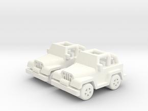 Jeep cars 18mm (2 pcs) in White Processed Versatile Plastic