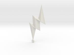 Lightning Bolt Pendant in White Natural Versatile Plastic
