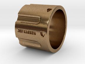 357 Magnum Cylinder Ring, 6 shot, Ring Size 9 in Natural Brass