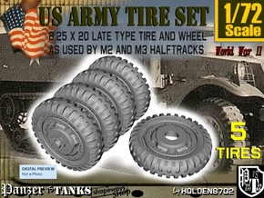1-72 8-25x20 Late Tire Halftrack Set2 in Smoothest Fine Detail Plastic