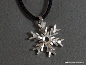 Snowflake Pendant (Double Sided) in Natural Silver