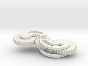 Fidget Gear Spinner in White Natural Versatile Plastic