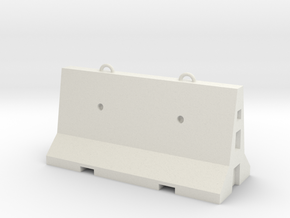 1:50 Road Cement Barrier in White Natural Versatile Plastic
