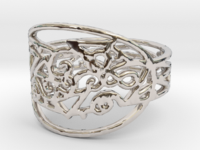 Freaky Ring Design Ring Size 7 in Rhodium Plated Brass