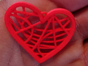 Heart pendant in Red Strong & Flexible Polished