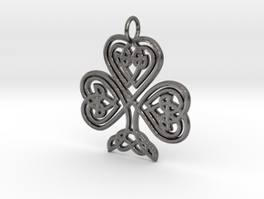 Celtic Shamrock Pendant Elegant Irish Charm in Polished Nickel Steel